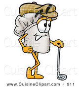 Cuisine Clipart of a Smiling Chefs Hat Mascot Cartoon Character Leaning on a Golf Club While Golfing by Toons4Biz