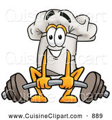 Cuisine Clipart of a Smiling Chefs Hat Mascot Cartoon Character Lifting a Heavy Barbell by Toons4Biz
