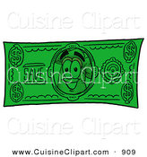 Cuisine Clipart of a Smiling Chefs Hat Mascot Cartoon Character on a Dollar Bill by Toons4Biz