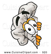 Cuisine Clipart of a Smiling Chefs Hat Mascot Cartoon Character Peeking Around a Corner by Toons4Biz