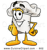 Cuisine Clipart of a Smiling Chefs Hat Mascot Cartoon Character Pointing at the Viewer by Toons4Biz