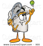 Cuisine Clipart of a Smiling Chefs Hat Mascot Cartoon Character Preparing to Hit a Tennis Ball by Toons4Biz