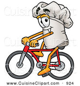Cuisine Clipart of a Smiling Chefs Hat Mascot Cartoon Character Riding a Red Bicycle by Toons4Biz