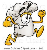 Cuisine Clipart of a Smiling Chefs Hat Mascot Cartoon Character Running by Toons4Biz