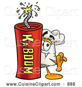 Cuisine Clipart of a Smiling Chefs Hat Mascot Cartoon Character Standing with a Lit Stick of Dynamite by Toons4Biz