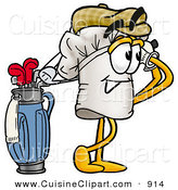 Cuisine Clipart of a Smiling Chefs Hat Mascot Cartoon Character Swinging His Golf Club While Golfing by Toons4Biz