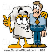 Cuisine Clipart of a Smiling Chefs Hat Mascot Cartoon Character Talking to a Business Man by Toons4Biz