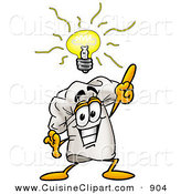 Cuisine Clipart of a Smiling Chefs Hat Mascot Cartoon Character with a Bright Idea by Toons4Biz