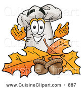 Cuisine Clipart of a Smiling Chefs Hat Mascot Cartoon Character with Autumn Leaves and Acorns in the Fall by Toons4Biz
