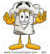 Cuisine Clipart of a Smiling Chefs Hat Mascot Cartoon Character with Welcoming Open Arms by Toons4Biz