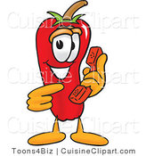 Cuisine Clipart of a Smiling Chili Pepper Mascot Cartoon Character Holding a Telephone by Toons4Biz