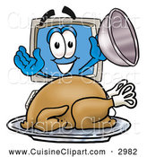 Cuisine Clipart of a Smiling Desktop Computer Mascot Cartoon Character Serving a Thanksgiving Turkey on a Platter by Toons4Biz