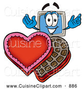 Cuisine Clipart of a Smiling Desktop Computer Mascot Cartoon Character with an Open Box of Valentines Day Chocolate Candies by Toons4Biz