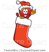 Cuisine Clipart of a Smiling Festive Red Apple Character Mascot Wearing a Santa Hat Inside a Red Christmas Stocking by Toons4Biz