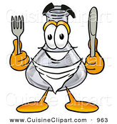 Cuisine Clipart of a Smiling Glass Erlenmeyer Conical Laboratory Flask Beaker Mascot Cartoon Character Holding a Knife and Fork by Toons4Biz