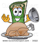 Cuisine Clipart of a Smiling Green Carpet Mascot Cartoon Character with a Thanksgiving Turkey on a Platter by Toons4Biz