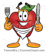 Cuisine Clipart of a Smiling Hungry Red Apple Character Mascot Wearing a Napkin, Holding a Fork and Knife by Toons4Biz