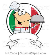 Cuisine Clipart of a Smiling Male Chef Holding a Platter over a Blank Banner and Round Italian Flag by Hit Toon
