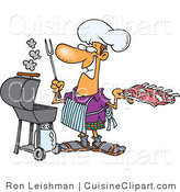 Cuisine Clipart of a Smiling Man Preparing to Barbeque Ribs on a Gas Grill by Toonaday