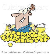Cuisine Clipart of a Smiling Man with Lemons, Pitcher of Lemonade and a Glass of Juice by Toonaday
