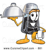 Cuisine Clipart of a Smiling Pepper Shaker Mascot Cartoon Character Dressed As a Waiter and Holding a Serving Platter by Toons4Biz