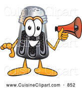 Cuisine Clipart of a Smiling Pepper Shaker Mascot Cartoon Character Holding a Megaphone by Toons4Biz