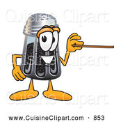Cuisine Clipart of a Smiling Pepper Shaker Mascot Cartoon Character Holding a Pointer Stick by Toons4Biz
