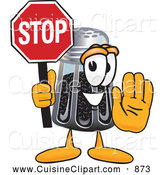 Cuisine Clipart of a Smiling Pepper Shaker Mascot Cartoon Character Holding a Stop Sign by Toons4Biz