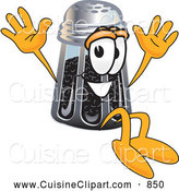 Cuisine Clipart of a Smiling Pepper Shaker Mascot Cartoon Character Jumping by Toons4Biz