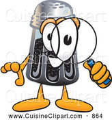 Cuisine Clipart of a Smiling Pepper Shaker Mascot Cartoon Character Looking Through a Magnifying Glass by Toons4Biz