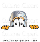 Cuisine Clipart of a Smiling Pepper Shaker Mascot Cartoon Character Peeking over a Surface by Toons4Biz