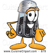 Cuisine Clipart of a Smiling Pepper Shaker Mascot Cartoon Character Pointing at the Viewer by Toons4Biz