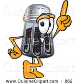 Cuisine Clipart of a Smiling Pepper Shaker Mascot Cartoon Character Pointing Upwards by Toons4Biz