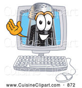Cuisine Clipart of a Smiling Pepper Shaker Mascot Cartoon Character Waving from Inside a Computer Screen by Toons4Biz