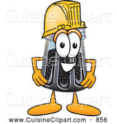 Cuisine Clipart of a Smiling Pepper Shaker Mascot Cartoon Character Wearing a Helmet by Toons4Biz