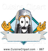 Cuisine Clipart of a Smiling Pepper Shaker Mascot Cartoon Character with a Blank Label by Toons4Biz