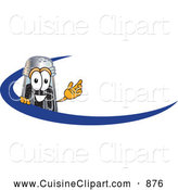 Cuisine Clipart of a Smiling Pepper Shaker Mascot Cartoon Character with a Blue Dash by Toons4Biz