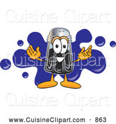 Cuisine Clipart of a Smiling Pepper Shaker Mascot Cartoon Character with a Blue Paint Splatter by Toons4Biz