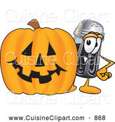 Cuisine Clipart of a Smiling Pepper Shaker Mascot Cartoon Character with a Carved Halloween Pumpkin by Toons4Biz