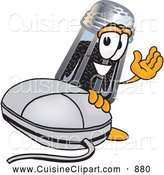 Cuisine Clipart of a Smiling Pepper Shaker Mascot Cartoon Character with a Computer Mouse by Toons4Biz
