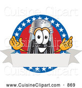 Cuisine Clipart of a Smiling Pepper Shaker Mascot Cartoon Character with Stars and Blank Label by Toons4Biz