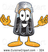 Cuisine Clipart of a Smiling Pepper Shaker Mascot Cartoon Character with Welcoming Open Arms by Toons4Biz