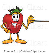 Cuisine Clipart of a Smiling Red Apple Character Mascot Using a Pointer Stick by Toons4Biz