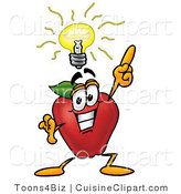 Cuisine Clipart of a Smiling Red Apple Character Mascot with a Bright Idea by Toons4Biz