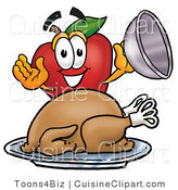 Cuisine Clipart of a Smiling Red Apple Character Mascot with a Cooked Thanksgiving Turkey on a Platter by Toons4Biz