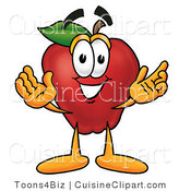 Cuisine Clipart of a Smiling Red Apple Character Mascot with Open Arms While Greeting Someone by Toons4Biz