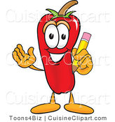 Cuisine Clipart of a Smiling Red Chili Pepper Mascot Cartoon Character Holding a Pencil by Toons4Biz