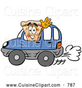 Cuisine Clipart of a Smiling Slice of Pizza Mascot Cartoon Character Driving a Blue Car and Waving by Toons4Biz