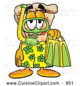 Cuisine Clipart of a Smiling Slice of Pizza Mascot Cartoon Character in Green and Yellow Snorkel Gear by Toons4Biz
