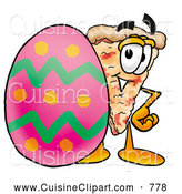 Cuisine Clipart of a Smiling Slice of Pizza Mascot Cartoon Character Standing Beside an Easter Egg by Toons4Biz